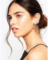 ASOS | Metallic Crystal Front And Back Ear Cuff | Lyst