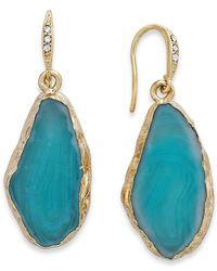 ABS By Allen Schwartz | Blue Gold-Tone Turquoise Stone Drop Earrings | Lyst