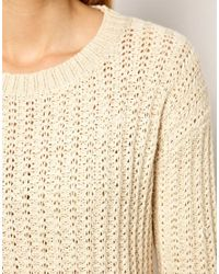 Mango - Natural Weave Knit Jumper - Lyst