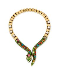 Betsey Johnson - Metallic Goldtone Crystal Snake Frontal Necklace - Lyst