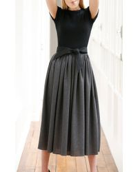 Martin Grant - Black Midi Dress With Belt - Lyst