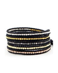 Chan Luu - Mixed Nugget Wrap Bracelet On Black Leather - Lyst
