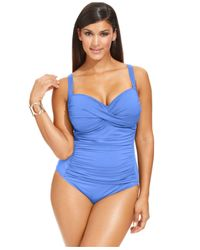 La Blanca | Blue Plus Size Ruched One-piece Swimsuit | Lyst
