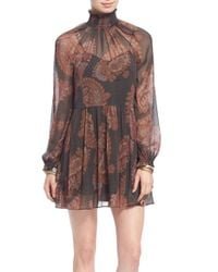 Free People | Black 'forget Me Not' Chiffon Minidress | Lyst