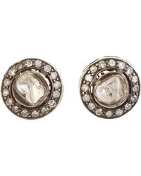 Munnu | White Diamond Mini Studs-colorless | Lyst