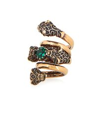 Gucci | Green Crystal-Embellished Tiger-Head Ring | Lyst
