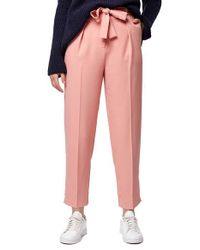 TOPSHOP | Pink Crepe Peg Trousers | Lyst