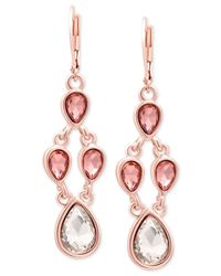 Tahari | Metallic T Rose Gold-tone Crystal Chandelier Earrings | Lyst