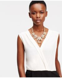 Ann Taylor | Metallic Crystal Drops Statement Necklace | Lyst