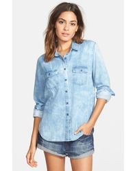 Volcom - Blue 'coyote Spirit' Chambray Shirt - Lyst