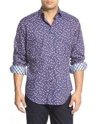 Thomas Dean | Blue Regular Fit Print Sport Shirt for Men | Lyst