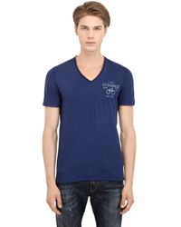 DSquared² - Blue Handcuff Printed Cotton Linen Tshirt for Men - Lyst