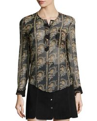 Étoile Isabel Marant - Black Soris Paisley-print Silk Chiffon Blouse - Lyst