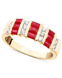 Macy's - Red 14K Gold Ruby (1-3/8 Ct. T.W.) & Diamond (1/6 Ct. T.W.) Ring - Lyst