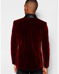 ASOS | Purple Skinny Blazer In Velvet for Men | Lyst