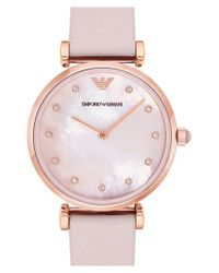 Emporio Armani | Pink Leather Strap Watch | Lyst