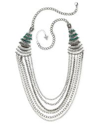 Guess | Metallic Silver-tone Crystal And Stone Tapered Multi-row Collar Necklace | Lyst