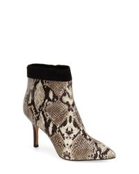 Nicole Miller - Brown Chelsea Snake-Print Ankle Boots - Lyst