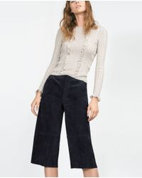 Zara | Natural Round Neck Sweater | Lyst