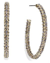 INC International Concepts | Metallic Gold-tone Pave Encrusted Hoop Earrings | Lyst