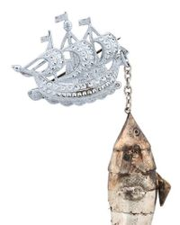 Maria Zureta | Metallic Articulated Fish Bronze Safety Pin | Lyst
