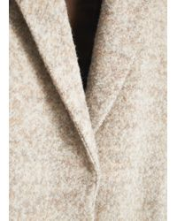 Mango - Natural Bouclé Wool Coat - Lyst