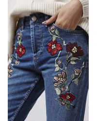 TOPSHOP - Blue Moto Embroidered Straight Jeans - Lyst