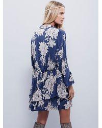 Free People - Blue Shake It Printed Long Sleeve Mini Dress - Lyst