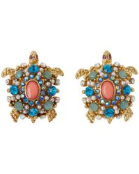 Betsey Johnson | Blue Antique Gold-tone Owl Stud Earrings | Lyst