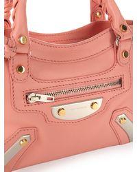 Balenciaga - Pink Metal Plate Mini City Leather Cross-Body Bag - Lyst