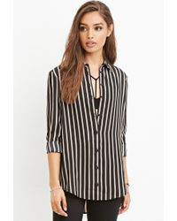 Forever 21 | Black Drapey Striped Shirt You've Been Added To The Waitlist | Lyst