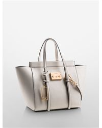 Calvin Klein | White Galey Saffiano Leather City Winged Shopper Tote | Lyst