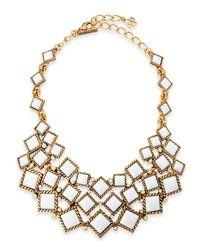 Oscar de la Renta | Metallic Square Resin Cabochon Bib Necklace | Lyst