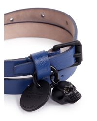 Alexander McQueen - Blue Skull Double Wrap Leather Bracelet for Men - Lyst