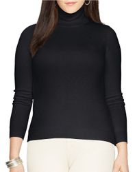 Lauren by Ralph Lauren | Black Plus Silk-cotton Turtleneck Sweater | Lyst