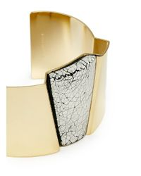 Isabel Marant | Metallic Cracked Resin Plate Brass Cuff | Lyst