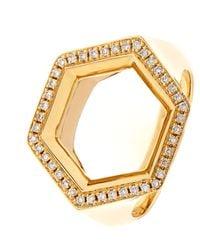 Noor Fares Metallic Hex Seal Gold And Diamond Ring