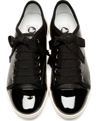 Lanvin - Black Leather Ribbon Laces Sneakers - Lyst