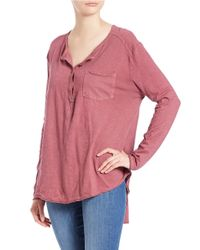 Free People - Pink Cotton Henley Tee - Lyst
