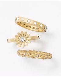 Ann Taylor | Metallic Winter Garden Ring Set | Lyst