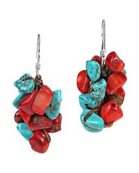 Aeravida | Red Beautiful Cluster Turquoise And Coral .925 Silver Earrings | Lyst