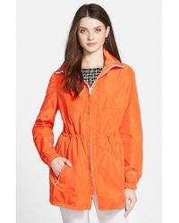 Trina Turk | Orange 'Hailey' Hooded Raincoat | Lyst