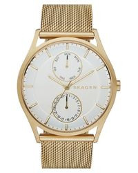 Skagen | Metallic 'holst' Multifunction Mesh Strap Watch for Men | Lyst