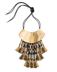 Natori | Metallic Hammered Gold Half Moon Necklace | Lyst