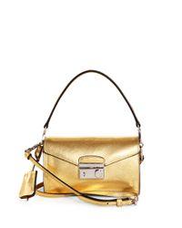 Prada Saffiano Leather Mini Sound Crossbody Bag in Gold | Lyst