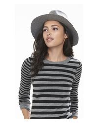 Express | Gray Mixed Stripe Fitted Crew Neck Sweater | Lyst