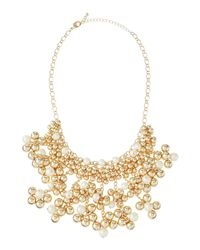Fragments - Metallic Pearly & Golden Beaded Tassel Necklace - Lyst