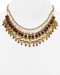 """Ralph Lauren - Metallic Lauren Beaded Bib Necklace, 16"""" - Lyst"""