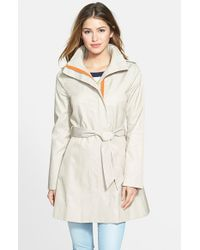 Kensie | Natural Women'S Contrast Trim Belted Trench Coat | Lyst