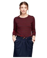Brooks Brothers - Red Cotton Crewneck Stripe Knit - Lyst
